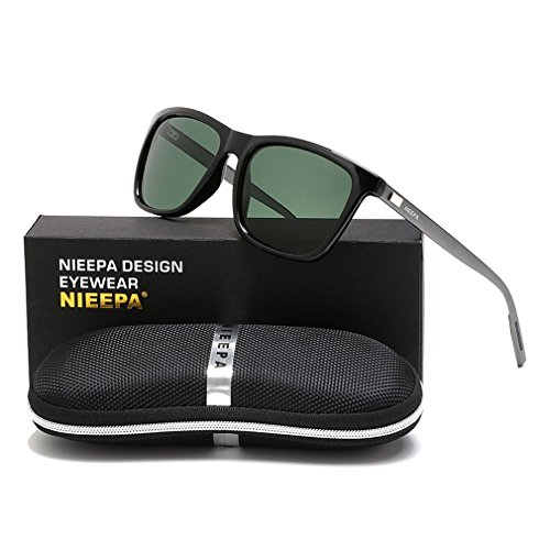 NIEEPA Square Polarized Sunglasses Aluminum Magnesium Temple Retro Driving Sun Glasses (Dark Green Lens/Black - Sunglasses Temple Of