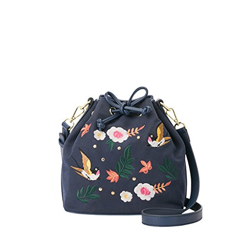 Bolsas de bordado de verano Simple Pequeño Fresco bolsa de Mensajero salvaje Bolsa de Mensajero Bordado Elementos de Moda Bolsa de Cordón Salvaje (Color : Blue, Tamaño : S) Blue