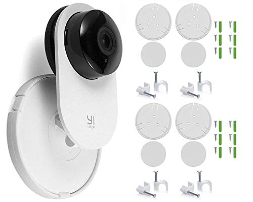 4 Pack Home Camera Wall Mount Stand Bracket for Yi Home Security Camera 360 Degree Swivel, Full Install kit with Wire Clips (4 Pack)