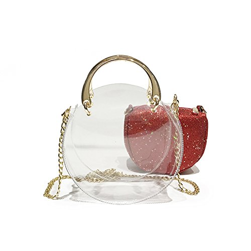 Sequins Wild Bag Bag Red Messenger Lady Ladies Crossbody Bags Round ZCM New Package Fashion Bag Classic Handbags Plastic Small qRg1nXw