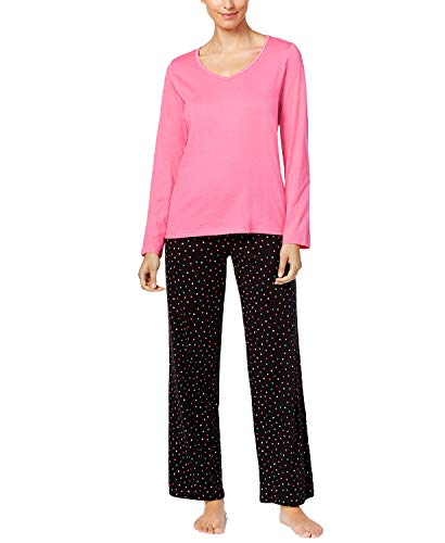 Charter Club Women's Graphic Top & Printed Pants Pajama Set, Pink/Multi Dot, Large from Charter Club