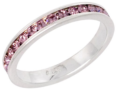 Sterling Silver Eternity Band, w/ June Birthstone, Alexandrite Crystals, 1/8