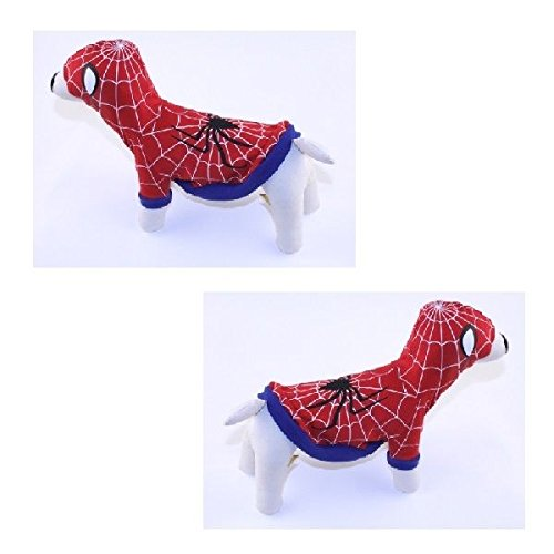 Spiderdog Costumes (Dog Costume - SPIDERDOG RED COSTUMES Glow in the Dark Dogs Outfit(Size 4))