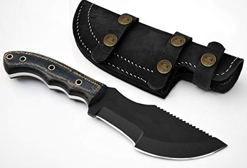 (Whole Earth Supply 1095 High Carbon Hunting Knife Tracker Knives Sheath Black Powder Micarta)