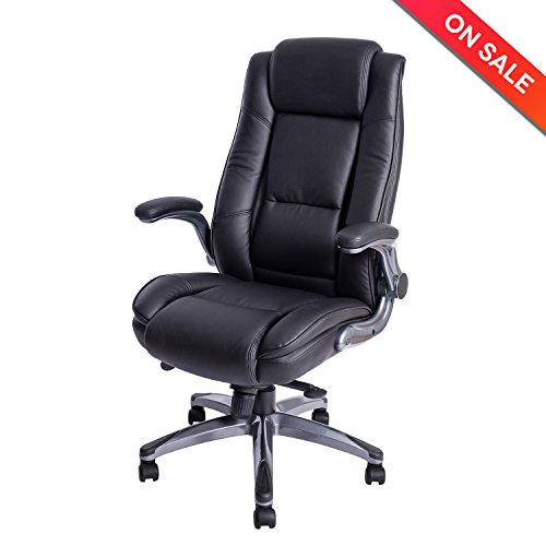 LCH High Back Leather Office Chair - Adjustable Angle Recline Locking System and Flip-Up Arms Executive Computer Desk Chair, Thick Padding For Comfort and Ergonomic Design For Lumbar Support (Black) (Back Adjustable Leather)