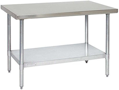 Galvanized Steel Undershelf - Tarrison WT3036 Heavy Duty Stainless Steel Top Work Table with Galvanized Legs and Undershelf, 36