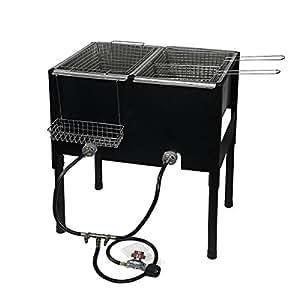 Amazon.com: Propane LPG Camping Stove 2 Burner basket Gas