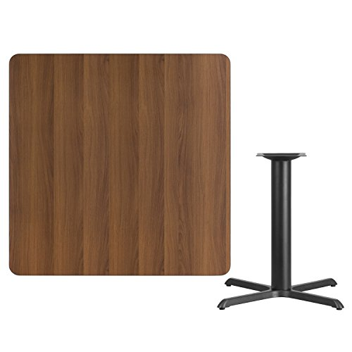 (Flash Furniture 42'' Square Walnut Laminate Table Top with 33'' x 33'' Table Height Base)