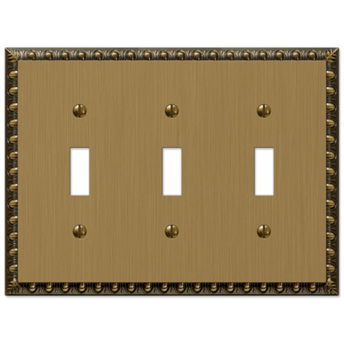Amerelle Egg & Dart Triple Toggle Cast Metal Wallplate in Brushed Brass