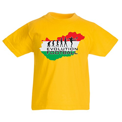fan products of lepni.me N4486K Kids T-Shirt Evolution Football - Hungary ! (3-4 Years Yellow Multicolor)
