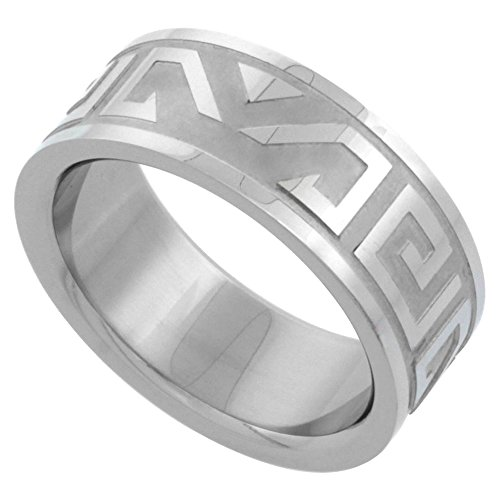 Surgical Stainless Steel 8mm Aztec Wedding Band Ring Etched Design, size ()