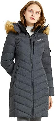 Orolay Women's Quilted Down Jacket Long Winter Coat Puffer Jacket with Faux Fur Hood