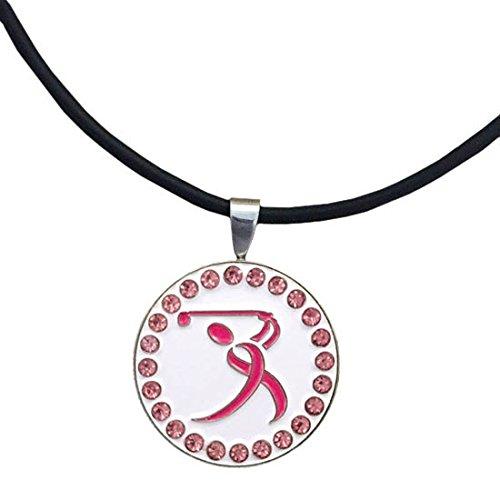 Giggle Golf Bling Pink Ribbon Golfer Magnetic Golf Ball Marker Necklace for Women