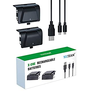 Battery Pack for Xbox One Rechargeable, YCCTEAM Controller Charger for Xbox One with 2pcs 1200 mAh Rechargeable Batteries for Xbox One/S/X/Elite Controller, Upgrade Integrated Rechargeable Battery