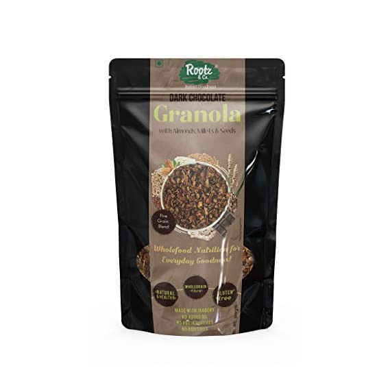 Rootz & Co. Healthy Granola Muesli (Dark Chocolate with Almonds, Quinoa, Millets and Super Seeds) 300gms. No Added Oil