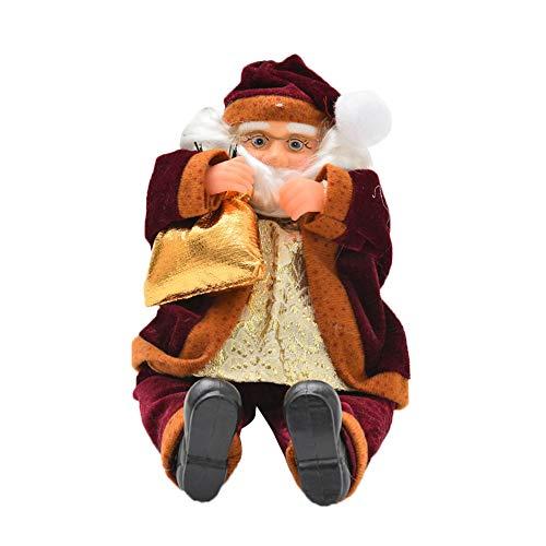 Christmas Plaything,FTXJ 1PC Children Stairs Santa Claus Christmas Tree Year Plush Toy (40 x 8 cm, Wine)