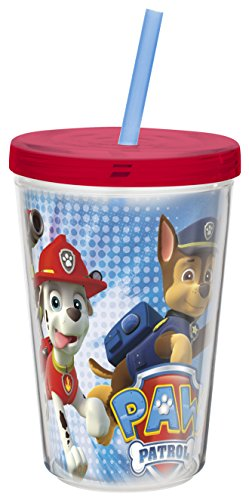 Zak Designs Paw patrol 13 oz. Insulated Tumbler With Straw, Chase, Rocky & Marshall
