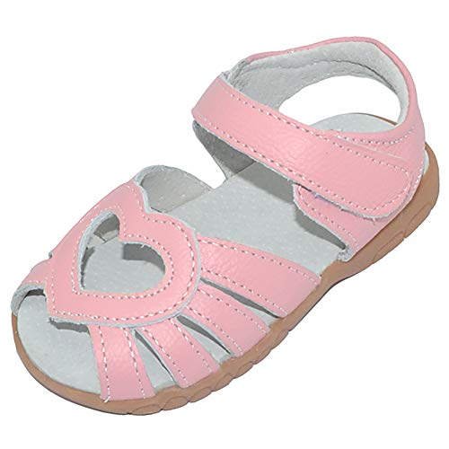 Femizee Kid Girls Leather Sandals Heart Décor Toddler Little Girls Princess Dress Sandal Shoes,Pink Heart,1539 CN29