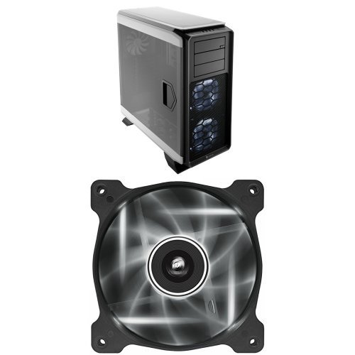 Corsair Graphite Series 760T Full Tower Windowed Case – White and Corsair Air Series AF120 LED Quiet Edition High Airflow Fan Single Pack – White