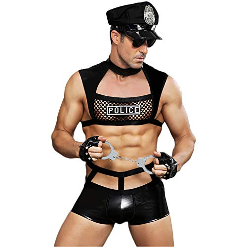 Amazon.com: FJLOVE Mens Role Play Costume Outfit Police ...