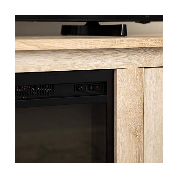 Home Accent Furnishings Lucas 58 Inch Television Stand with Fireplace in White Oak