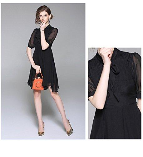 Cotylédons Women`s Robes De Soie Mode Maille Noire Solide Robe De Couleur