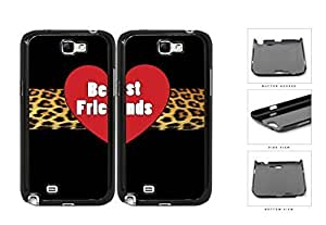 Red Heart Leopard Stripe Best Friends Set Hard Plastic Snap On Cell Phone Case Samsung Galaxy Note 2 II N7100 hjbrhga1544