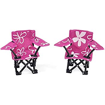 18 Inch Doll Accessories | Awesome Pink and White Flowered Camping Sports Chairs, includes Matching Carry / Storage Case | Fits American Girl Dolls