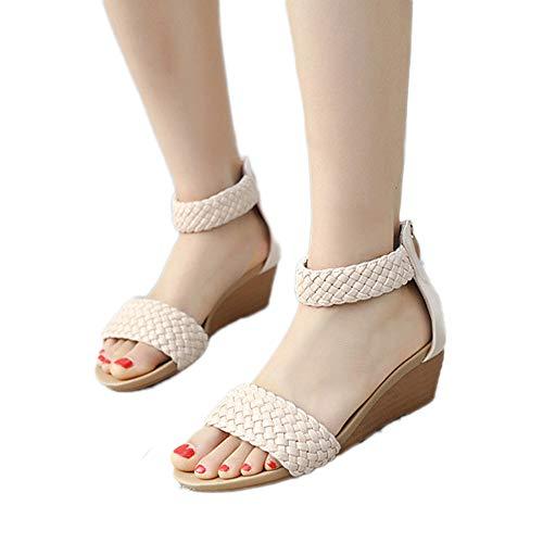 Compensées Mode Ouvert Tissées Talons Pente Été forme Femmes Mocassins Sandales Tongs Hauts Chaussures Bohémiennes Kaki lanskirt Bout Plate qtOvtxwUE