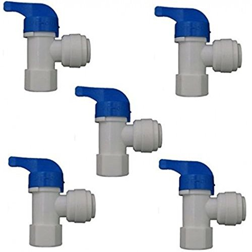 PureSec RO Water Storage Tank Use 90 Degree Elbow Shut Off Ball Valve Plastic Push-fit Quick fittings with Female Thread 1/4 Inch x Tubing OD 3/8 Inch ( 5pcs/Pack) (90 Degree Cpvc Valve)