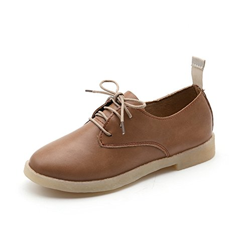 CYBLING Casual Lace-Up Fashion Platform Sneakers For Women Brown LmBnQ
