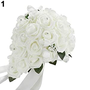 soAR9opeoF Wedding Bouquet Bridal Flower Bridesmaid Artificial Foam Rose Flower Handmade Decor 17