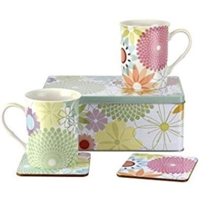 Portmerion Crazy Daisy Coffee Mugs for Women – 2 Porcelain Mug Set with Matching Coasters and Gift Tin Dishwasher and Microwave Safe