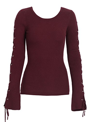 Simplee Women's Lace up Flare Sleeve Pullover Sweater Hollow Out Knitted Tops