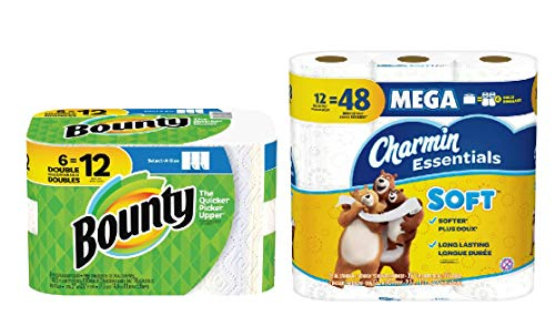 Bounty Select-A-Size Paper Towels, White, 6 Double Rolls = 12 Regular Rolls with Charmin Essentials Soft Toilet Paper in 12 Mega Rolls.