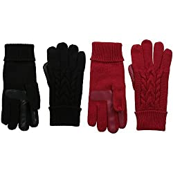Isotoner Women S Solid Triple Cable Knit Smartouch Gloves Black Really Red 2 Pack One Size