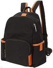 ZHANGYOUDE Canvas Zipper Double Shoulders School Bag Travel Backpackage Bag (Black) (Color : Black)