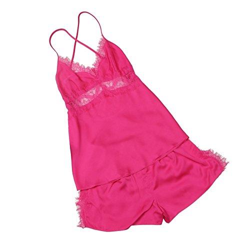 Sproud New Hot Sexy Lingerie Set Women Silk Pijamas Femme 2018 Adult Minion Sleepwear Deep V Sleeveless Suspenders Nightgown,Blue,XXL