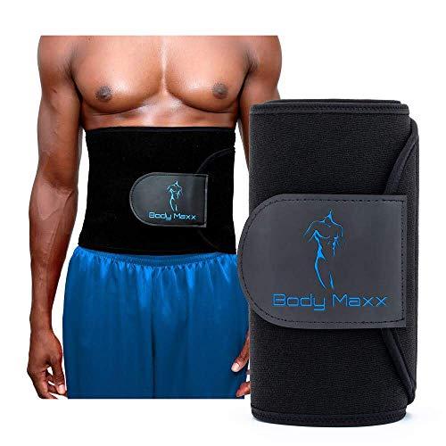 Body Maxx Mens Waist Slimmer & Trainer Waist Trimmer Sweat Belt for Weight Loss, Fitness, Burning Fat