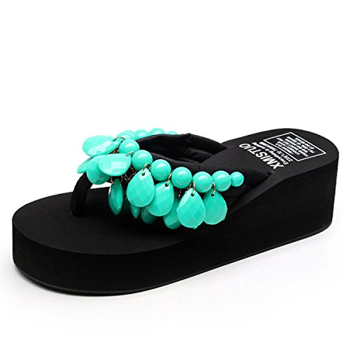 GSHGA Zapatillas De Moda Hechas A Mano Con Cuentas De Playa Zapatos De Mujer Sandalias Con Correa En T Sandalias Romanas De Bohemia Green