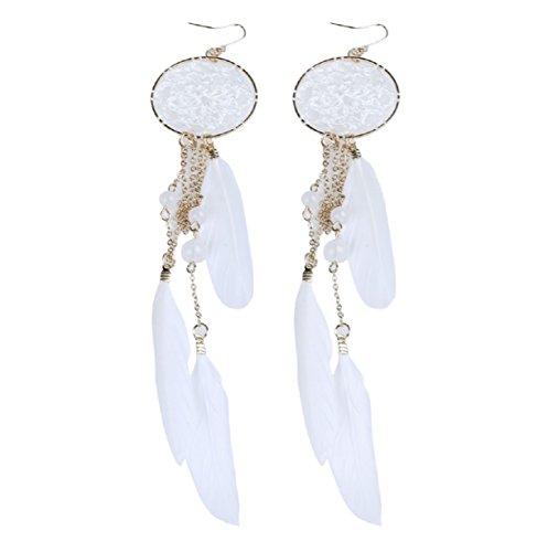 10k Onyx Gold Earrings - 2016 New Hot Bohemia Feather Beads Long Design Dream Catcher Earrings for Women Jewelry (White)