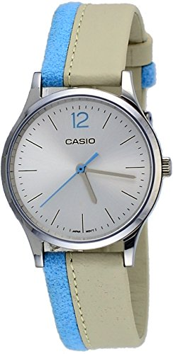 Casio LTP-E133L-7B1 Women's Standard Minimalist Leather Band Silver Dial Watch