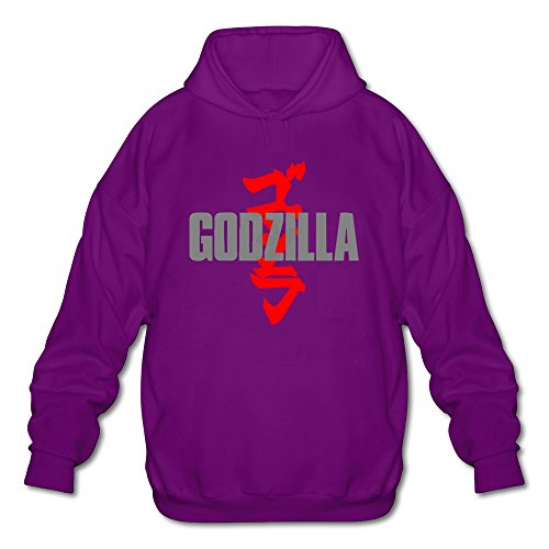 [AOPO Godzilla Men's Long Sleeve Hooded Sweatshirt / Hoodie Large Purple] (Anguirus Costume)