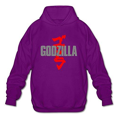 AOPO Godzilla Men's Long Sleeve Hooded Sweatshirt / Hoodie XX-Large Purple