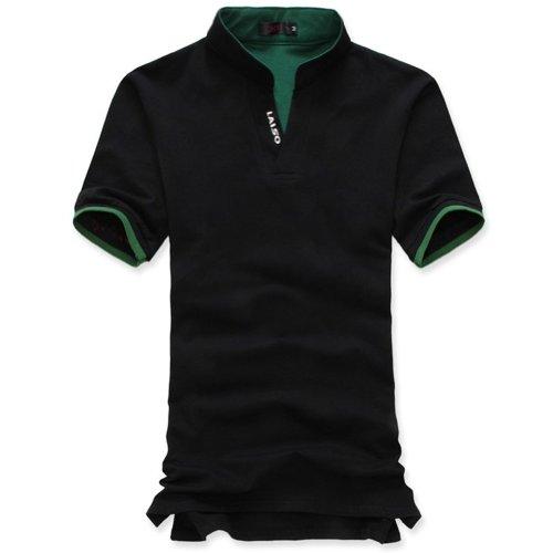 Hee Grand Men's Casual Stand-Collar Tee XL Black