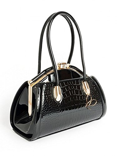 Black Patent Charlotte Handbag