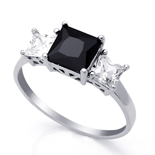 Double Accent Sterling Silver Black & White Princess CZ Three Stone Anniversary Ring 7MM (Size 4 to 10), - Stone Ring Anniversary 7