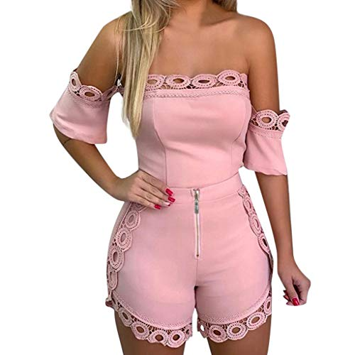 LIM&Shop  Summer Tube Top Shorts 2PCS Set Off Shoulder Tunic Lace Shirt Short Pant Paperbag Shorts Zipper Sexy Romper Pink]()