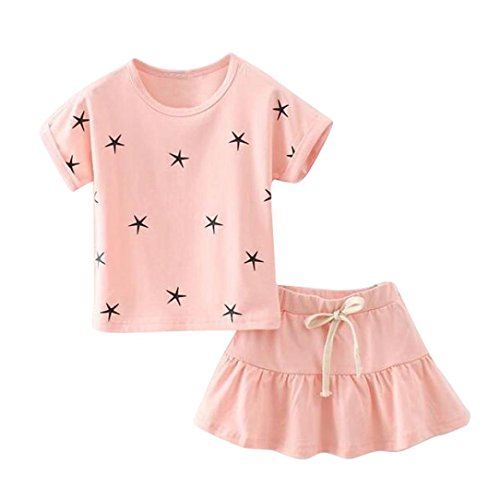 PHOTNO 1Set Suit outfit for Kid Baby Girls Short Sleeve T-shirt Tops+Short Skirt (2-7Y) (140 (6/7T), Pink)