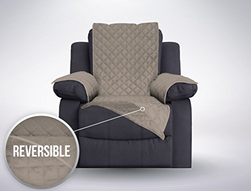 The Original SOFA SHIELD Reversible Furniture Protector, Features Elastic Strap (Oversized Recliner: (Taupe Leather Match Recliner Loveseat)